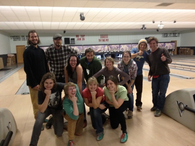 Bowling! Back row from left: David, Jeff, Jessica, Eric, Jenna, Becca, Austin, Sean Kneeling from left: Kate, Katie, Emily, Kristen