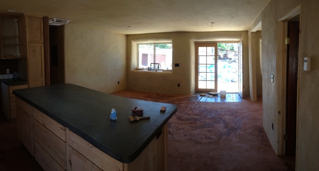 Kitchen island and living room.