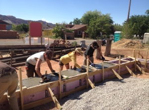 Concrete was poured and smoothed over just yesterday!