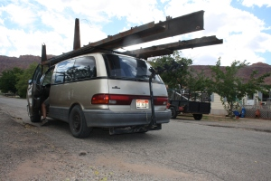 Salvaged I-Beam from Andy's demolished trailer will be put to future use. In the meanwhile, Chris explores the Aerodynamics of Minivans.
