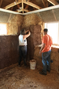 Doug's not-yet-patented Slip 'n' Scratch interior plaster layer. Using the natural hydraulic force of a full and open palm in forceful press and smear, this mixture of sifted reject sand/soil and water reaches its ways into and underneath the first layer of bale wall straw to establish a tight and integrated solid scratch layer surface upon which can be built successive plaster layers. The key to knowing whether you have effectively integrated the mix into the wall is to run your fingers along the smeared section. If the slip falls off to reveal dry areas of straw, try again. When applied effectively, the surface of straw and just beneath will be totally coated in the tomato paste-like layer. From here, you can take this slip-scratch mixture, add straw, and fill in low points on the wall. Add clay, and build out window sills or other larger gaps where needed.