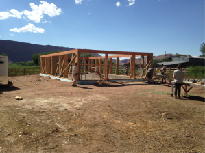 More importantly, the build!  This is a shot of the Ershadi's house a couple weeks into the semester.  The concrete foundation has been laid down and the form posts and box beams are up.  It was an exciting time in the build, as every day yielded some clearly visible progress.