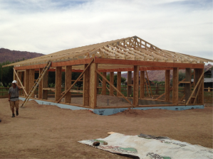 With all the trusses up --- Alan, on the left, walks away after singlehandedly installing the trusses, not fazed at all.