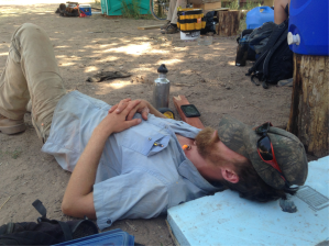 Here is one of our many photos of apprentice builder Will getting some shut-eye after a night of what we can only guess to be unimaginable debauchery.  Will and the other apprentice builder, Jess, are a huge blessing on site for their experience and good cheer.