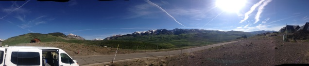 A nice contrail (or is it cloud seeding?) at the foundation site for the Mount Crested Butte, CO Build
