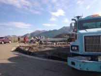 The concrete truck.