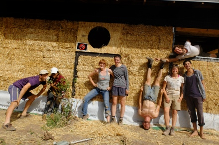 The group celebrates being done with straw!
